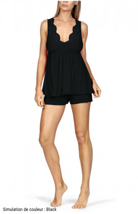 Nightset comprising a sleeveless lace-trimmed top and shorts.