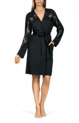 Robe belted at the waist featuring straight sleeves with lace inlay.