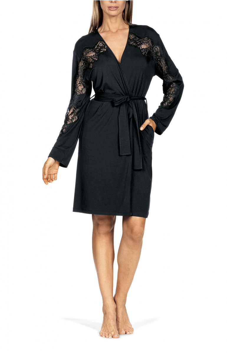 Robe belted at the waist featuring straight sleeves with lace inlay. Coemi-lingerie