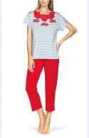 Pyjamas comprising a short-sleeve top with lace insert to match trousers.