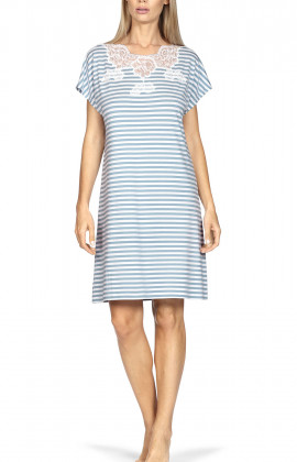 Nightdress with short, loose-fitting sleeves, lace insert and stripe print.