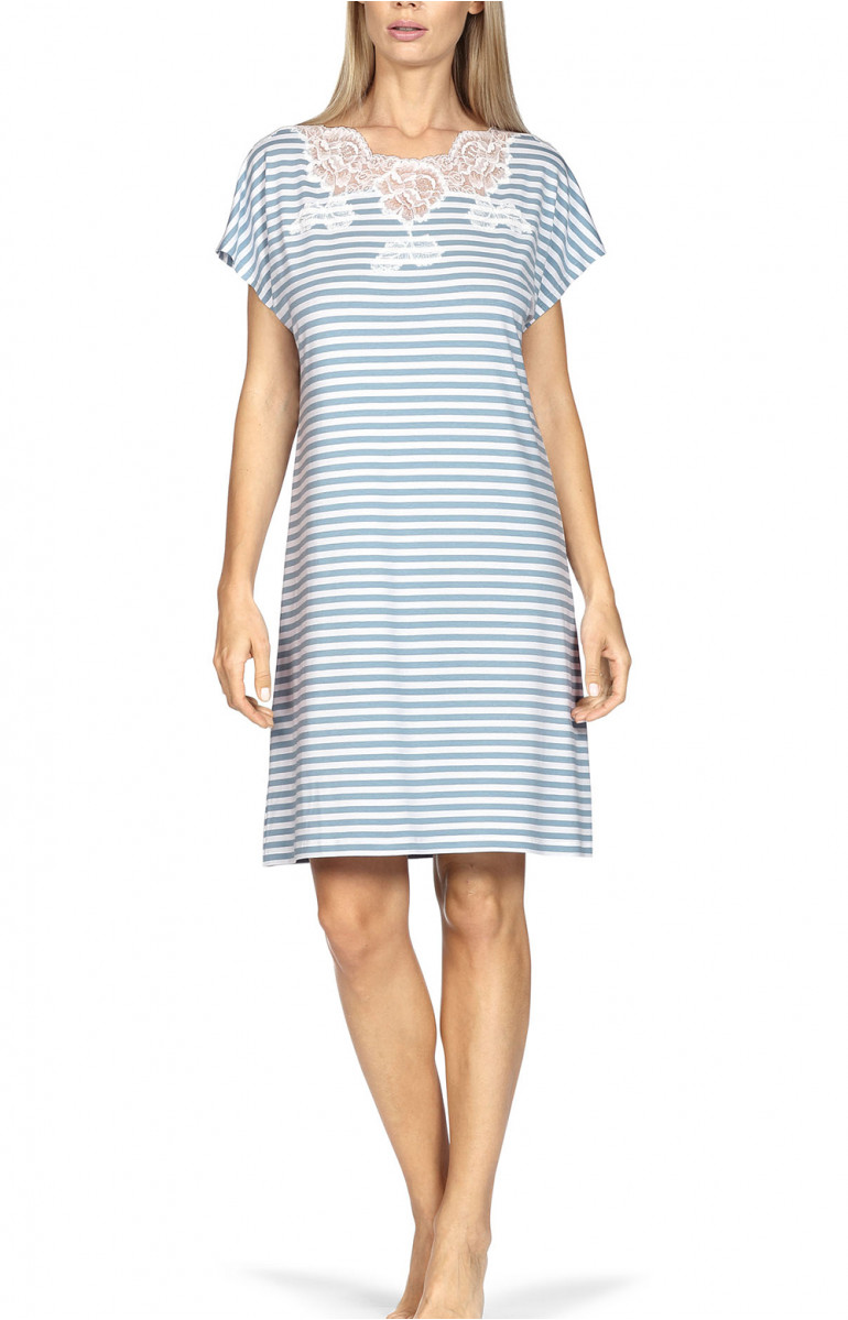 Nightdress with short, loose-fitting sleeves, lace insert and stripe print. Coemi-lingerie
