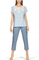 Pyjamas comprising a short-sleeve stripe print top and plain three-quarter length trousers.