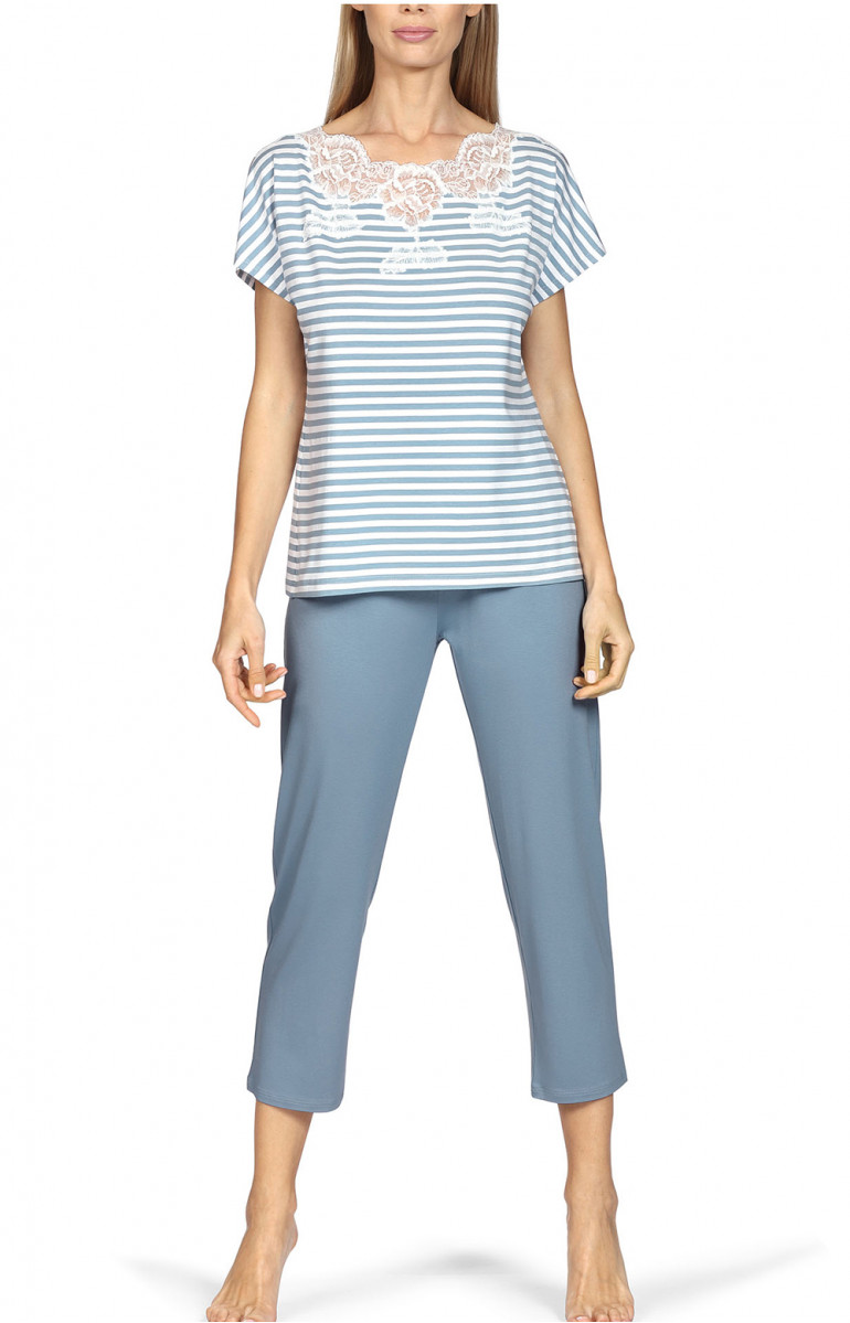 Pyjamas comprising a short-sleeve stripe print top and plain three-quarter length trousers. Coemi-lingerie