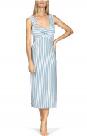 Mid-length nightdress with wide shoulder straps front and back.