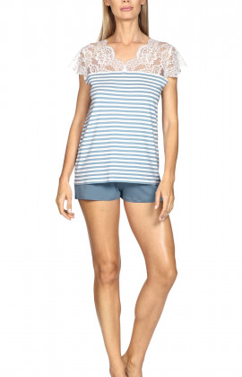 Nightset comprising a short-sleeve T-shirt and straight leg shorts.