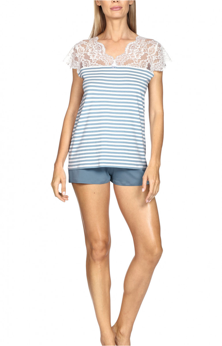 Nightset comprising a short-sleeve T-shirt and straight leg shorts. Coemi-lingerie