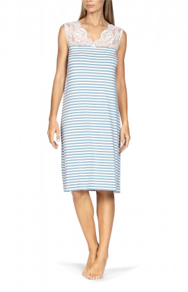 Straight cut sleeveless stripe print nightdress with lace scoop neck.