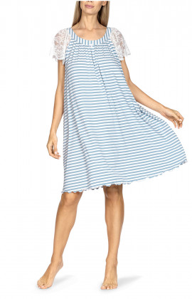 Loose-fitting, knee-length nightdress with short, lace sleeves.