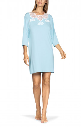 Mid-thigh-length tunic nightdress with three-quarter sleeves and lace insert.