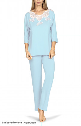Two-piece pyjamas comprising a top with three-quarter sleeves and lace insert, and long trousers. Coemi-lingerie