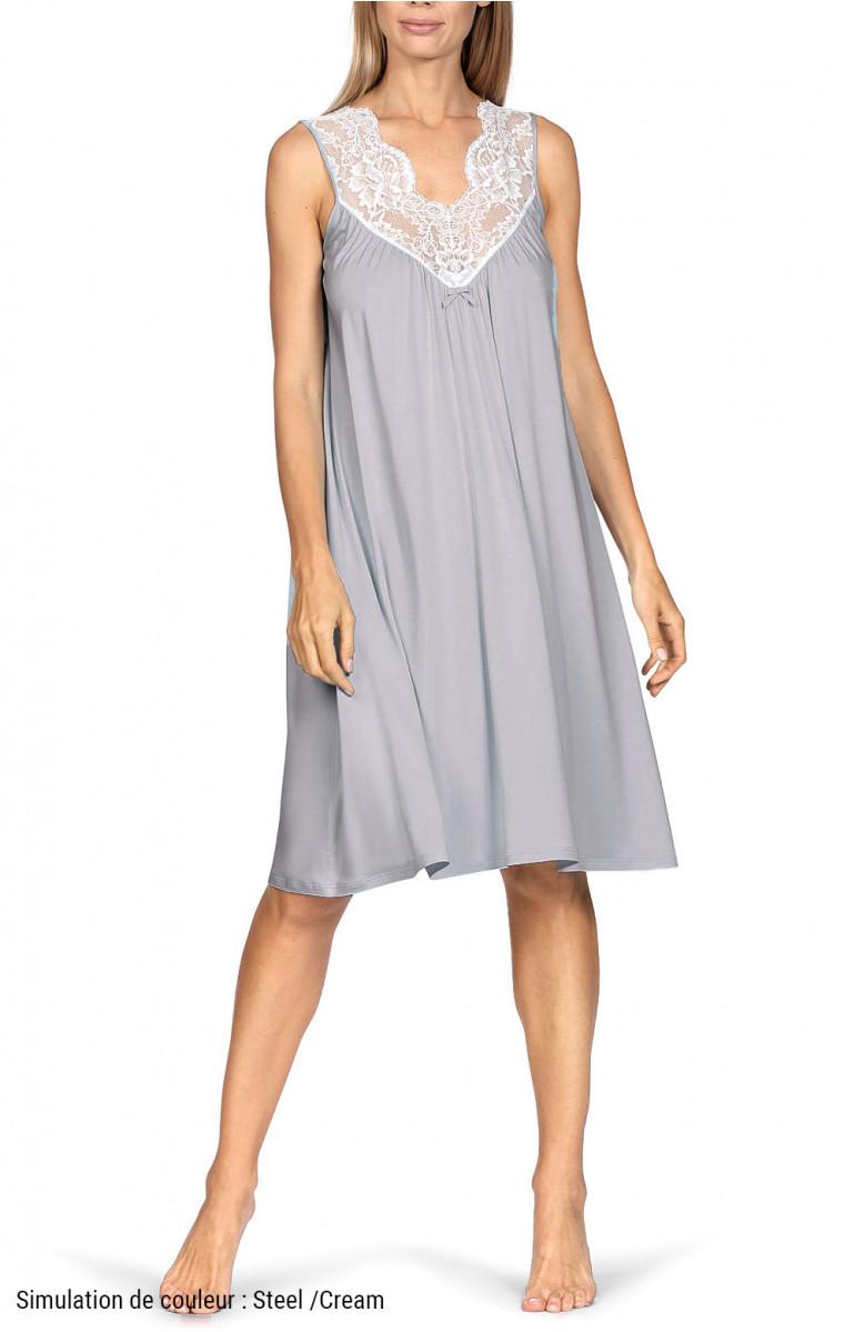Sleeveless loose-fitting knee-length loungewear nightdress. Coemi-lingerie
