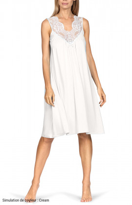 Sleeveless loose-fitting knee-length loungewear nightdress.