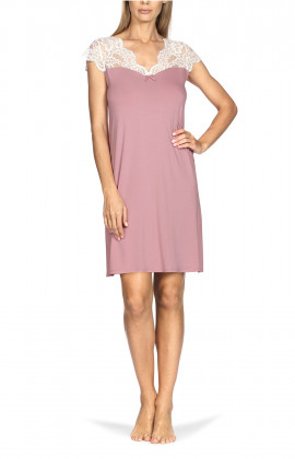 Short-sleeve knee-length tunic loungewear nightdress.
