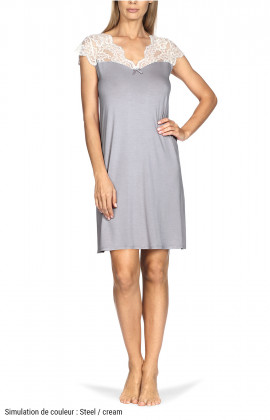 Short-sleeve knee-length tunic loungewear nightdress. Coemi-lingerie