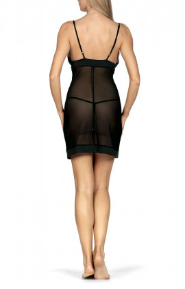 Very sexy close-fitting transparent embroidered strappy nightdress. Coemi-lingerie
