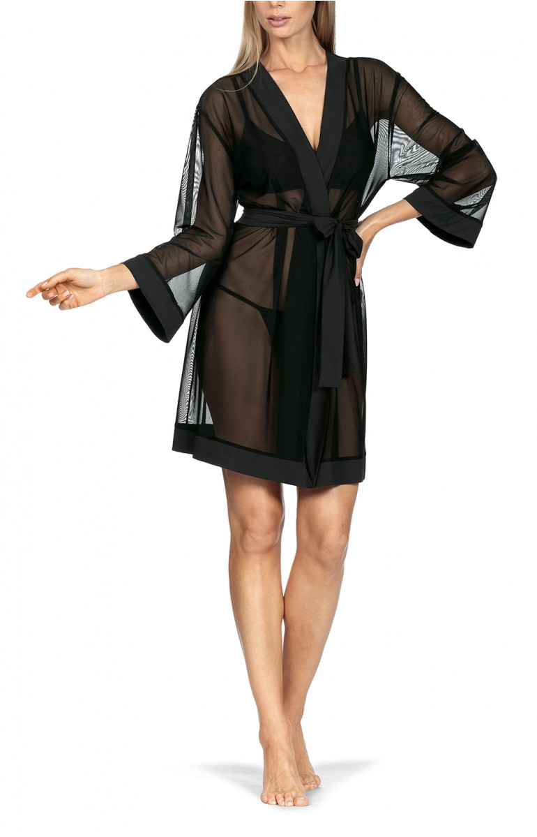 Pretty mid-thigh-length kimono-style robe with semi-transparent flowing fabric. Coemi-lingerie