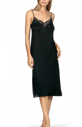 Strappy, close-fitting calf-length nightdress with slide slit.