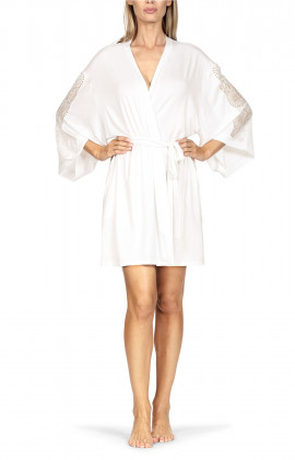 Mid-thigh-length kimono-style robe with lace insert on the sleeves.