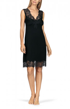 Sleeveless knee-length nightdress with lace-trimmed V-shaped neckline.