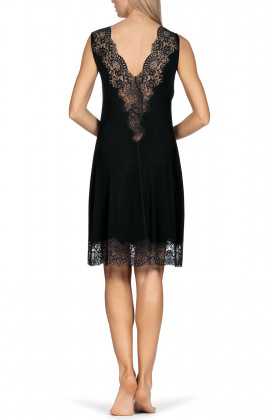 Sleeveless knee-length nightdress with lace-trimmed V-shaped neckline. Coemi-lingerie