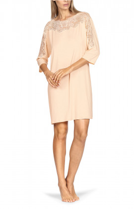 Knee-length tunic nightdress with three-quarter sleeves and boat neck.