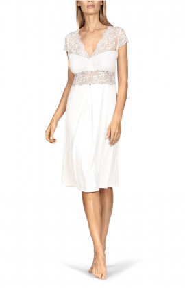 A delightful short-sleeve knee-length nightdress with lace inserts.