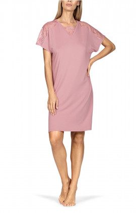 Short-sleeve tunic nightdress with lace inlay on V-shaped neckline. Coemi-lingerie