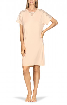 Short-sleeve tunic nightdress with lace inlay on V-shaped neckline.