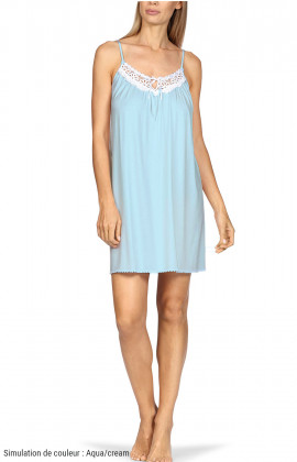 Strappy, loose-fitting nightdress with embroidered bust.