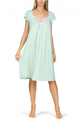 Loose-fitting knee-length loungewear nightdress. Short sleeves.