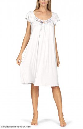 Loose-fitting knee-length loungewear nightdress. Short sleeves. Coemi-lingerie