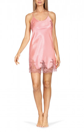 A delightful satin nightdress with lace inserts and thin straps that cross at the back.