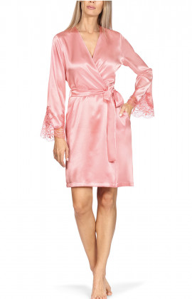 Satin and lace knee-length robe.