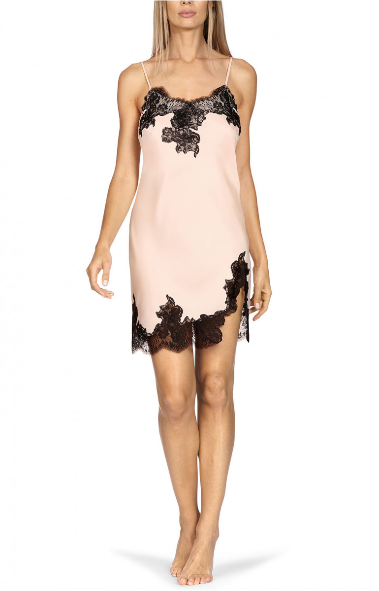 Satin nightdress with matching lace, thin straps and lacing at the back. Coemi-lingerie