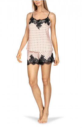 Nightset comprising a top with thin straps and shorts, both with black lace trim.