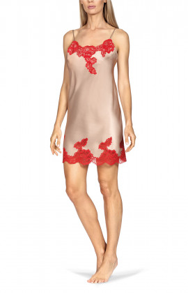 A strappy beige satin and red lace nightdress.