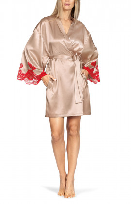 Short kimono-style beige satin and red lace robe.