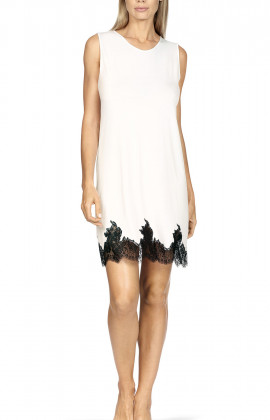 Sleeveless round neck nightdress with lace trim and cut at the back.