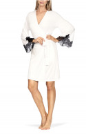 Knee-length robe with lace cuffs.