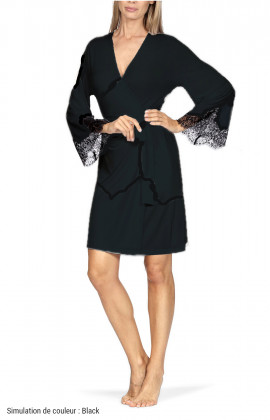 Knee-length robe with lace cuffs. Coemi-lingerie