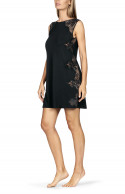 Sleeveless round neck nightdress with lace inserts and ribbon tie at the back.