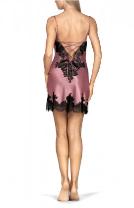 Satin and lace nightdress with thin straps and lacing at the back. Coemi-lingerie
