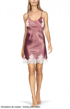 Satin and lace nightdress with thin straps and lacing at the back.