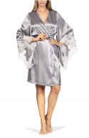 Satin and lace kimono-style robe with long loose-fitting sleeves.