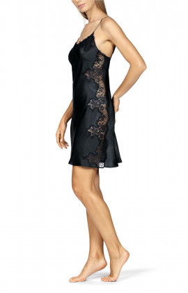 A strappy satin and lace nightdress.