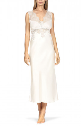 Sleeveless lace-trimmed mid-length nightdress with V-shaped neckline.