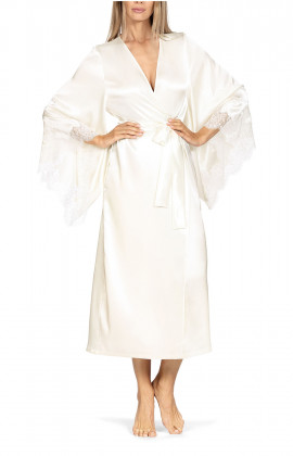 Long satin and lace robe with long, loose-fitting flared sleeves. Coemi-lingerie
