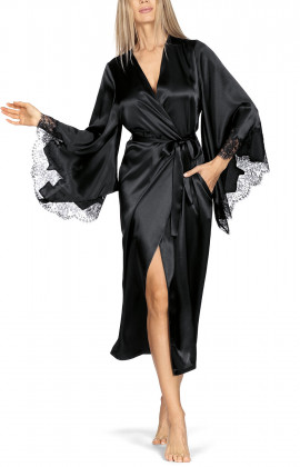 Long satin and lace robe with long, loose-fitting flared sleeves.