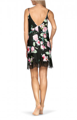 Strappy nightdress with lace inserts and floral pattern on black satin. Coemi-lingerie